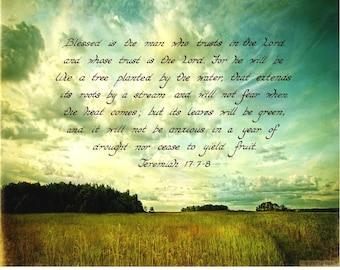 JEREMIAH 17:7-8 --- 8 X 10 Hand Written Calligraphy Art Print Distressed Scrapbooking Paper Sky Field Prairie Grass Farm Blue Clouds For Hi