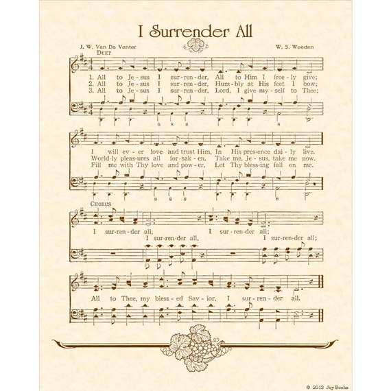 Full Theme Sheet Music Theoffice Us: I SURRENDER ALL 8 X 10 Antique Hymn Pif Pay It By