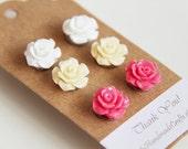 3 Pairs-White. Ivory Cream. Medium Pink. Acrylic Resin Rose Ear Studs Post. Weddings. Spring. Light . Floral (Set 1)