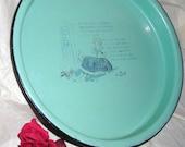 Jade Green Enamelware Plate / Polly Flinders Poem / HD3