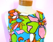 Reserved--VINTAGE -- 1960s -- 1970s -- Psychedelic Floral Print Cotton Shift Dress -- Sleeveless -- FREE Shipping to USA