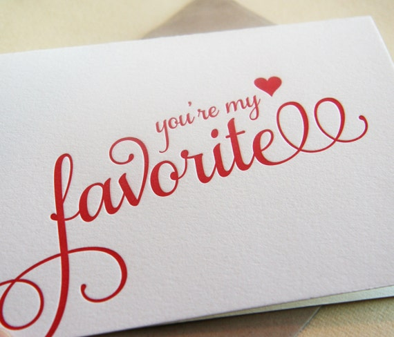 Letterpress Valentine Card - i love you - My Favorite script