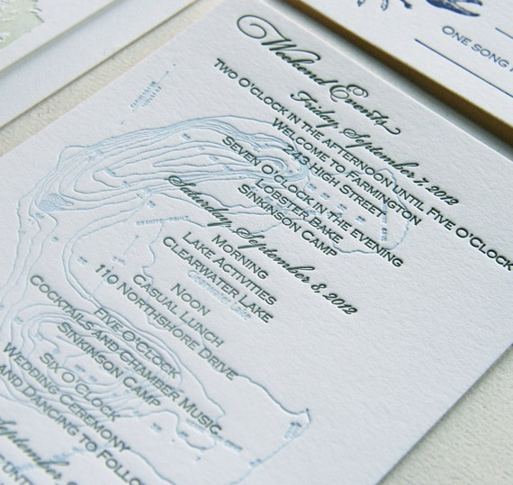 Matchy Matchy Letterpress Invite And Handmade Envelope: Maine Map Letterpress Wedding Invitation Maine By