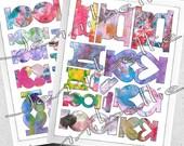 Artful Page Tabs Digital Collage Sheet Set