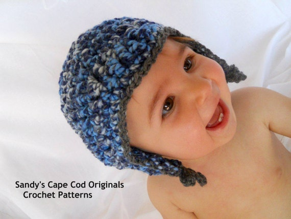 Chunky Unisex Pilot Hat Crochet Pattern PDF 447 up to size 18months