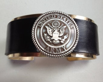 Made To Fit You Silver US Army Concho Leather and Brass Cuff Bracelet. Free shipping to US locations, reduced rates to all other countries.