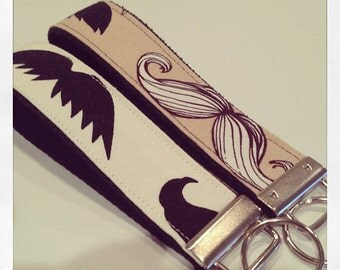 One Key Fob Wristlet - Mustaches - Pick your Color