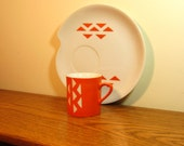 Reserved - Vintage Modern Snack Luncheon Set Orange White Cups Plates by Domus Modern on Etsy