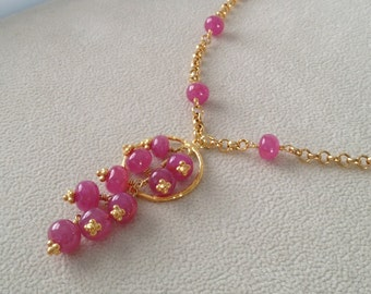 Pink Sapphire Pendant Necklace in Vermeil