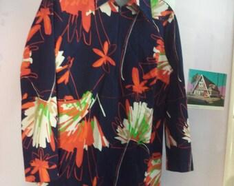 Seventies polyester disco sweater jumper zip 70s zipper jacket shirt boho polyester