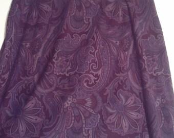 purple paisley skirt hippie size 12 32 grunge bohemian beatnik mini skirt 60s 90s mod