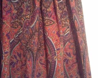 boho hippie paisley skirt pleated grunge bohemian beatnik size 12 80s 90s