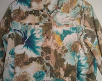 Floral jean jacket 1980s 1990s boho coat windbreaker