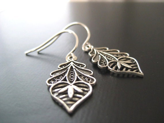 RESERVED Listing - Replacement Simply Silver, Filigree Flowers and Heart, Sterling Silver Earrings