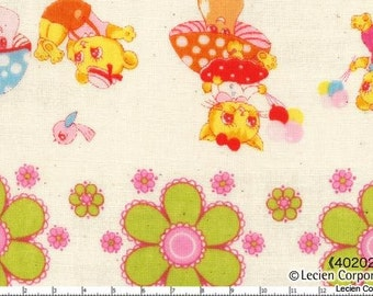 CLEARANCE, Japanese, Lecien, Pitic Pitica, 4 Girls Collection, Animal Friends in a Row, Double Gauze, 40202-10, 1/2 Yard