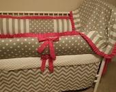 Gray Chevron and hot pink Baby bedding Crib set DEPOSIT ONLY