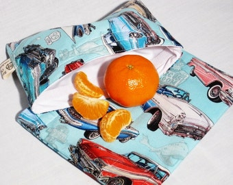 Classic Cars Sandwich and Snack Bag Set, Reusable