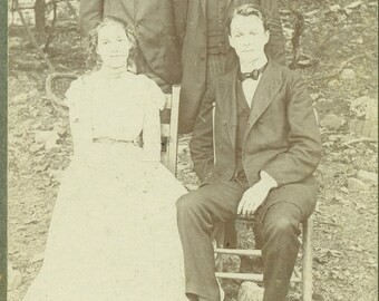 3 Brothers and Their Sister Sitting Outside Antique Studio Portrait Cabinet Card Photo Photograph Vintage