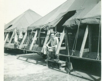 In The Army Now WW2 Shirtless Soldier Sitting Tents Flaps Rolled Up  Vintage Photo Black and White Photograph