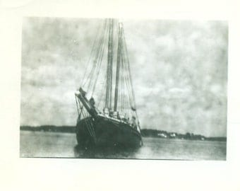 Maine Sailboat Sailing by View From Water Front of Boat Maine Vintage Photo Snapshot Black White Photograph