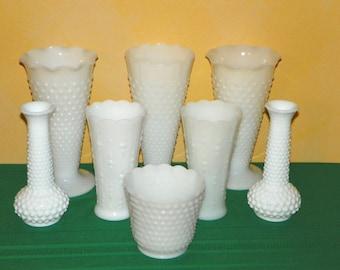 Milk Glass Vase Set, a 8 Piece HOBNAIL Milk Glass Collection, Centerpieces, Weddings, Showers, Patio, Parties