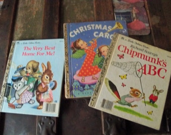 3 vintage golden books