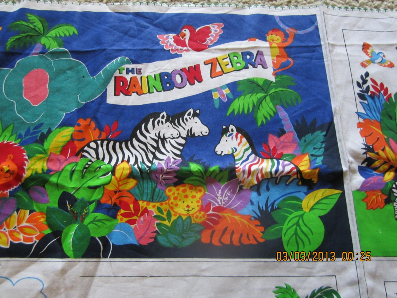 rainbow zebra fabric panel soft book animals