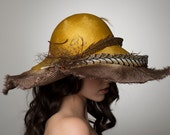Wide Brim Hat. Kentucky Derby Hat. Soft Brim. Hand dyed Parasisal Straw. Golden Yellow and Brown Ombre. Pheasant Feathers. Hat Box Included.