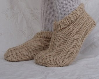 Hand Knit Slippers in Beige or Light Brown for Men and Women