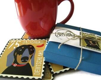 Dachshund Art Dog Coasters Set of 4 Home Decor Hostess Gift