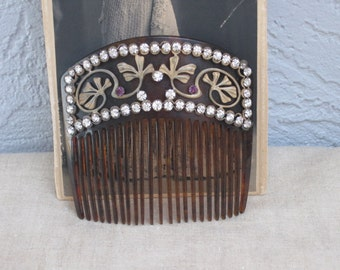Gibson Girl Rhinestone Hair Comb...Stylish Ginko Leaf...Wedding...Bridal...Titanic