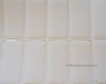 25 Pieces Domino 1 INCH x 2 INCH  Clear  Epoxy   Square  Pendant Sticker Seals 1x2