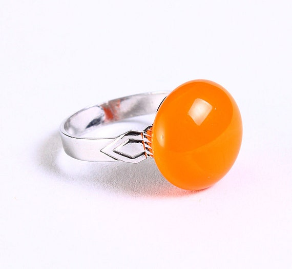 Petite cocktail ring orange glass adjustable silver ring OOAK (678) - Flat rate shipping