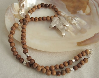 Silver Leaf and Wood Bead Necklace