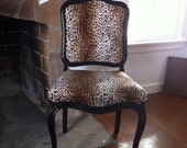 Vintage 1960s French Provincial Replica Chair in Leopard and Gloss Black