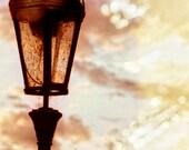 Prague Twinkles - Czech Republic - Art Photography - 8x12 - Vintage - Lantern - Dusk - Magic - Golden Hour