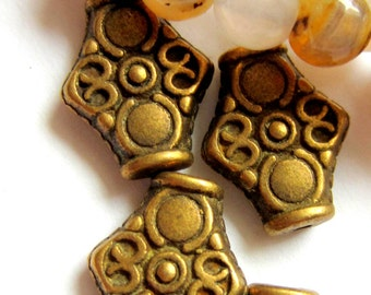 16 Bronze beads tibetan style focal bead jewelry making supplies 15mm x 4.5mm  10426