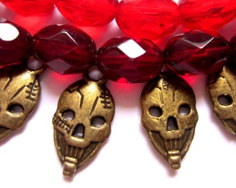 10 Skull  charms antique bronze pendants goth jewelry making supplies  23x11mm double sided bronze jewelry charms