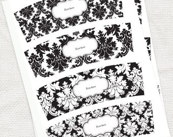 damask candle wraps - printable editable file - black and white votive wrap wedding decoration instant download