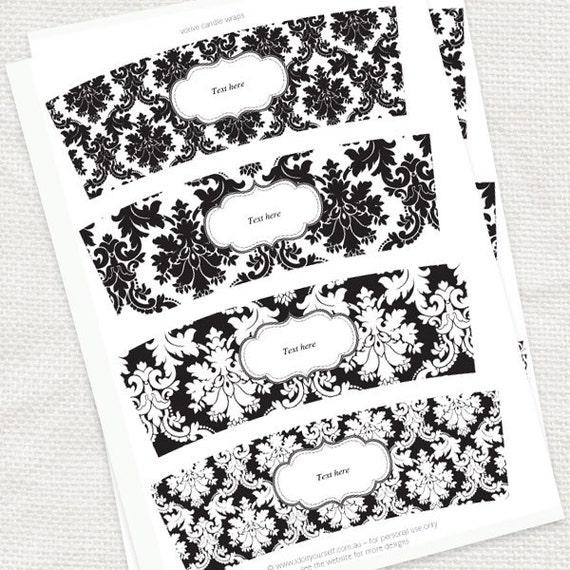 Download damask candle wraps printable editable file black and