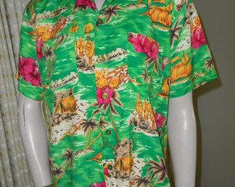 "50's Rayon Green Tropical Print ""Hawaiian Style"" Shirt- Size M"