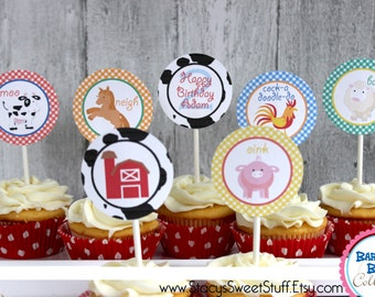 Farm Animal Cupcake Toppers, DIY, Printable
