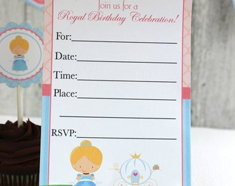 Cinderella Invitation, DIY, Printable, INSTANT DOWNLOAD