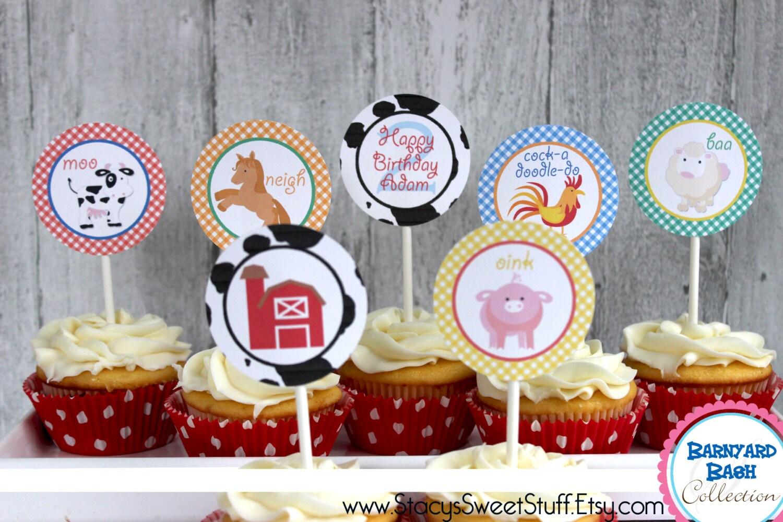 Farm Animal Cupcake Toppers DIY Printable