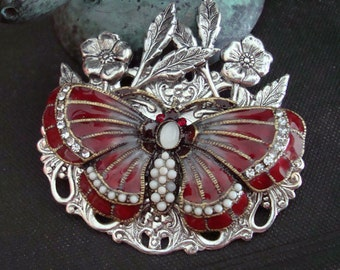 Ruby Butterfly Silver Leaves Necklace or Supply, Exclusive Jeweled Pendant, Hand Made, Rhinestones, Glass Pearls, Summers Flowers, Filigree