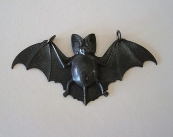 Necklace or Gothic Dark Bat Necklace Supply, Big Wings Pendant, 2 3/4 Inches Wide, 2 Ring Connector, NOT RAW Brass, Decadent Dark Bat