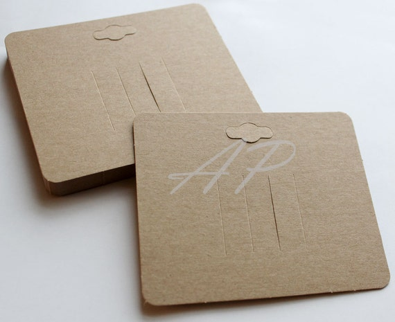 100 pc Blank Hair Clip Display Card in Brown Kraft Paper for Accessory and Jewelry for DIY (with hanging hole on top)
