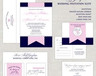 Navy Blue & Pink Gingham Wedding Invitations, Wedding Invites, Wedding Invitation, Flag Banner, Chic, Romantic, Cute, Calligraphy Script