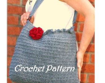 Oversized Crochet Ruffle tote bag with flower, crochet pattern, crochet bag, automatic download