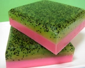 Strawberry Kiwi Poppyseed Soap - Fruit - Goats Milk - Glycerin soap - Exfoliating soap -LAST ONE- - asliceofdelight